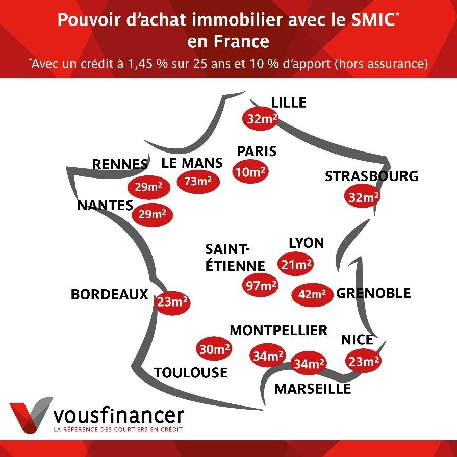 carte france achat immobilier avec le smic en France